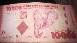 "10 mil ""Tanzanian shillings"""