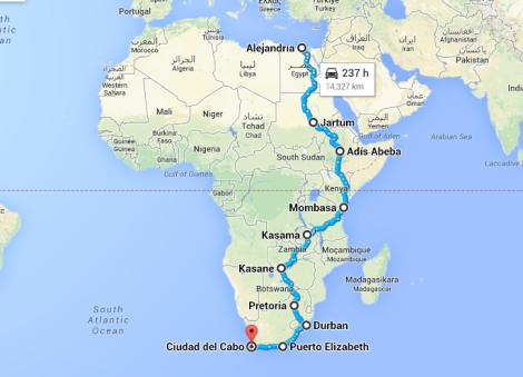 La ruta de norte a sur (no muy precisa ya que muchos lugares que visité no figuran en los mapas)