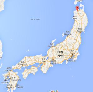El punto rojo es donde queda Hirosaki