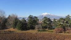 El Monte Iwaki desde el parque del castillo de Hirosaki