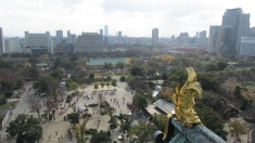 Vista desde la parte superior del castillo de Osaka.