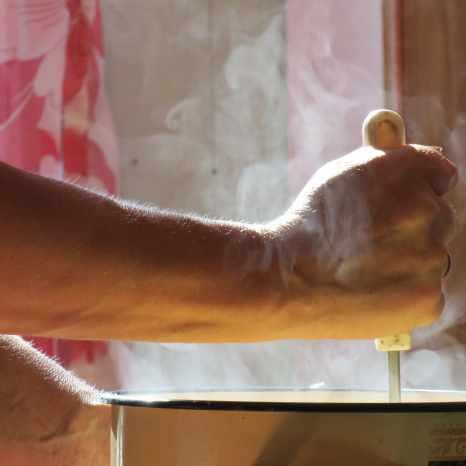 Galina preparando puré