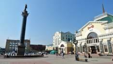 Estación de trenes en Krasnoyarsk, Siberia